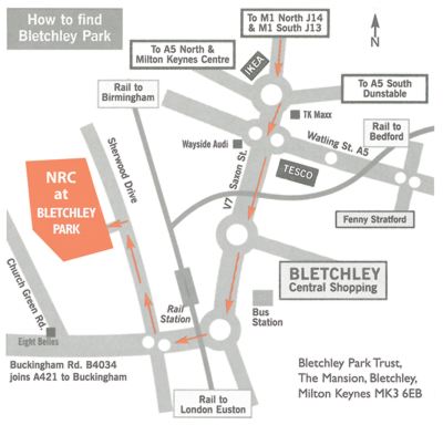 Map of the Bletchley Park site showing transport links